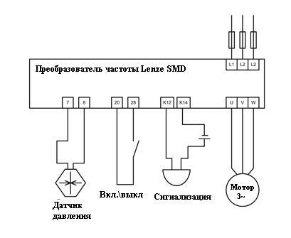Схема подключения частотного преобразователя Lenze SMD.